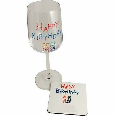 25th Brights Wine Glass and Coaster Gift Set (brights)