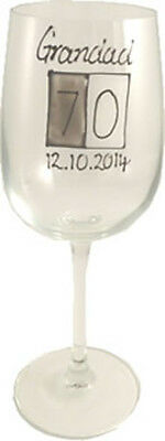 Personalised 70th Birthday Gift Wine Glass (Grey Sq)