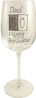 Personalised 50th Birthday Gift Wine Glass (Grey Sq)
