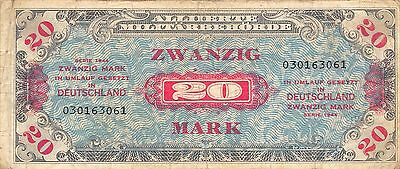 Germany  20 Mark  Series of 1944  WW II issue With F circulated Banknote 3D