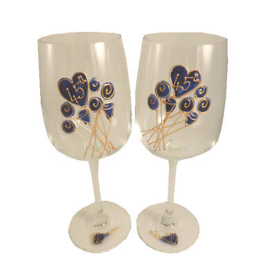 Personalised 45th Wedding Anniversary Gift Pair of Wine Glasses Flower
