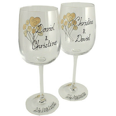 Personalised 70th Wedding Anniversary Gift Pair of Wine Glasses Flower