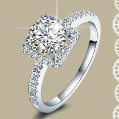 925 Sterling Silver Ring Wedding Engagement White Sapphire Bridal Anniversary