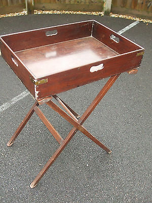 Authentic antique Victorian mahogany butler's tray and stand, brass corners