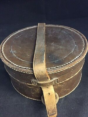 Vintage Brown Leather Unusual Collar Box with Collars