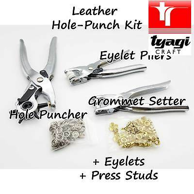 DIY 3× Leather Belt Hole Punch Eyelet Plier Snap Button Grommet Setter Tool Kit