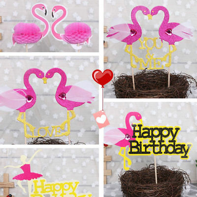 Glitter Tribal party Cupcake Toppers Flamingo Birthday decor wedding cup topper