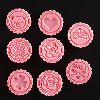 DIY Pastry Biscuit Cookie Cutters Fower Stamps Baking Mould Round Mooncake Mold