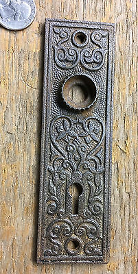 Antique Cast Iron Door Knob Back Plates ~ Eastlake Victorian Escutcheon ~ Key H.