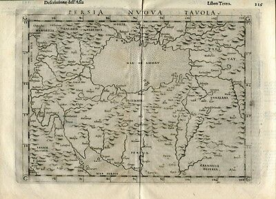 Old Map Persia Iran Black Sea Tavola Nuova. Ptolemy, Venice Sessa 1598 Rare!!