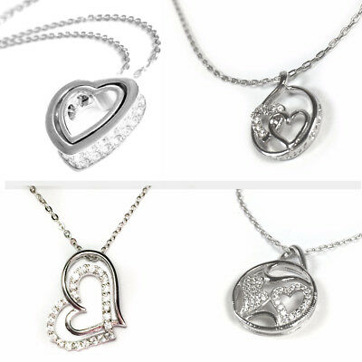 Solid Sterling Silver 925 Heart Two Twin Hearts 18 Inch Chain Necklace - Various