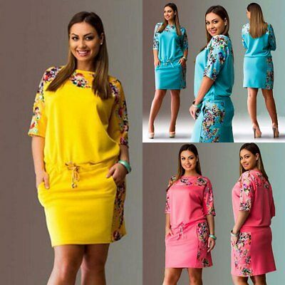 Plus Size Women's Summer Casual Long Sleeve Cocktail Evening Party Mini Dress