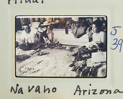 Sand Painting Ritual Navaho Arizona Man Woman Holding Baby Art 35mm B&W Slide