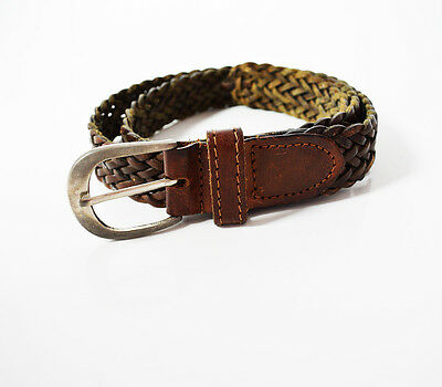 FIrenze Vintage Braided Leather Belt Brown