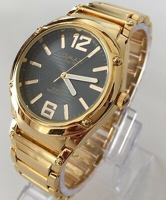 Mens Luxury Gold Watch Metal Strap Black Dial Swiss Omax Designer Classic Smart