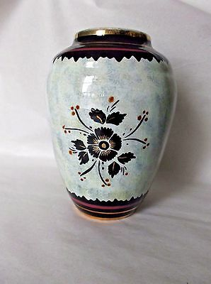 Hand-painted GOUDA Ceramic Vase, Holland, Crown Mark, Black Gold Brown Floral