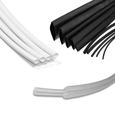 Black & White Heat Shrink Electrical Tubing Wrap Sleeving Car 2:1 Ratio Tube