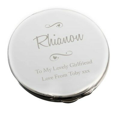 NEW Personalised Any Message Swirls & Hearts Compact Mirror Make Up P0102U42
