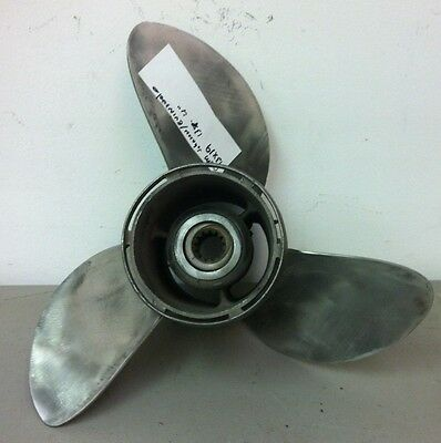 Clean oem Used Johnson & Evinrude 13 x 19 Pitch stainless Propeller 3 7/8 HUB
