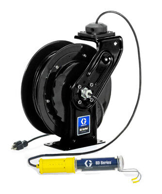 GRACO 24Y885 Black, Fluorescent Light w/Single Tool Tap Plug 95ft SD 16AWG 10Amp
