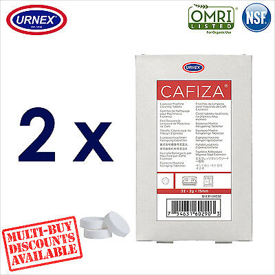 2 x Urnex CAFIZA 32 Cleaning Tablets Cleaner Coffee Espresso Machine Organic