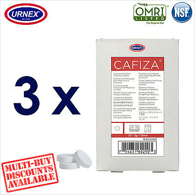 3 x Urnex CAFIZA 32 Cleaning Tablets Cleaner Coffee Espresso Machine Organic