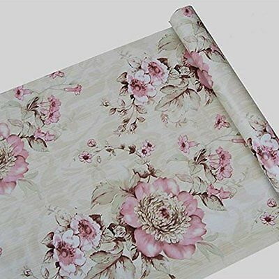 Vintage Cream/Pink Flower Wallpaper Roll decor Contact Paper Peel Stick Vinyl.