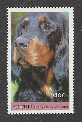 Dog Art Photo Head Portrait Postage Stamp GORDON SETTER Touva Russia MNH