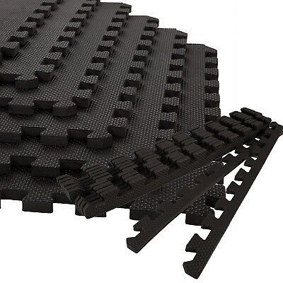 Large Interlocking Black Eva Foam Mats Tiles Gym Play Garage Workshop Floor Mat