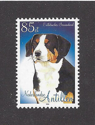 Dog Art Portrait Postage Stamp ENTLEBUCHER SENNENHUND Netherlands Antilles MNH