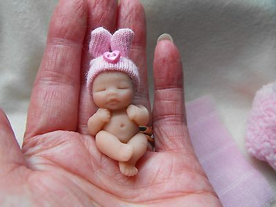 OOAK handmade miniature sulpt  4 cm  clay baby  pink doll  1/12th  by Carol