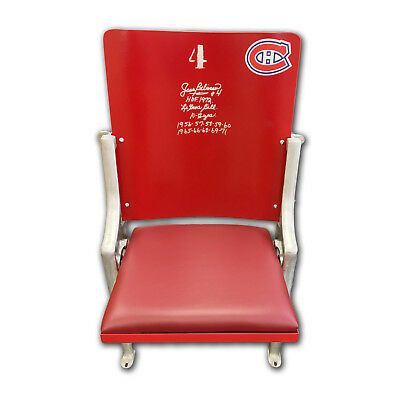 Montreal Canadiens Forum Seat - Hand Signed by Jean Beliveau, 10 Cups Inscribed
