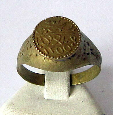 AMAZING BRASS RING FROM THE EARLY 20 th c.WITH ENGRAVING ON THE TOP # 85A