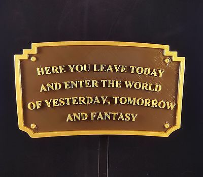 Magic Kingdom DL Entranceway Plaque Inspired Sign - (Disney Inspired Prop)