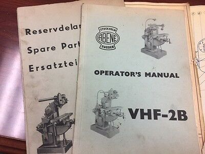 ABENE Milling Machine VHF-2B Operator's & Spare Parts Manuals, Lub & Adjustment