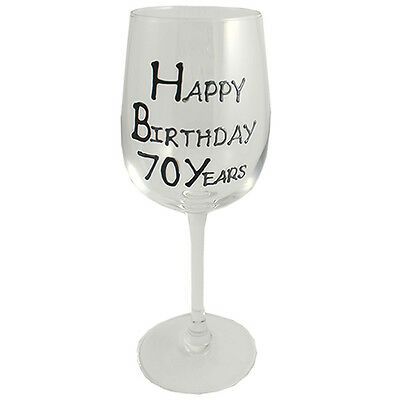 70th Birthday Gift Wine Glass Black/Silver