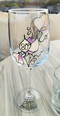 80th Birthday Gift Sweet Pea Gift Wine Glass