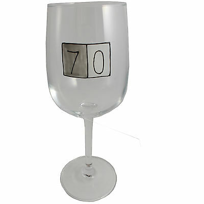 70th Birthday Wine Glass (Grey Sq)