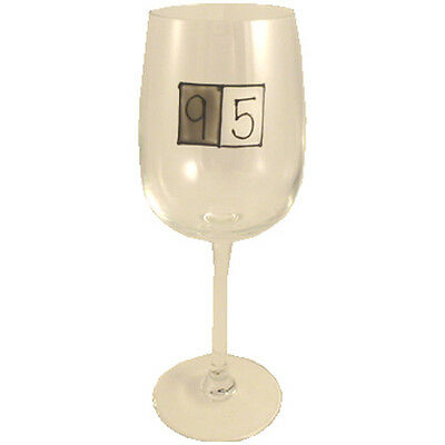 95th Birthday Gift Grey Sq Wine Glass