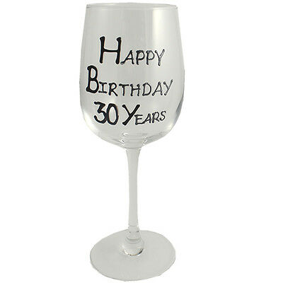 30th Birthday Gift Wine Glass Black/Silver