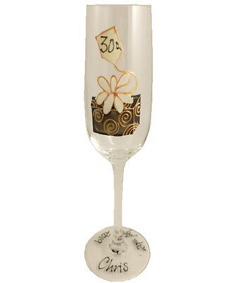 Personalised 30th Gift Birthday Box Champagne Flute