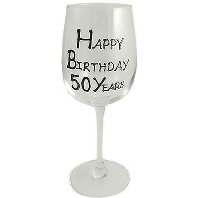 50th Birthday Gift Wine Glass Black/Silver