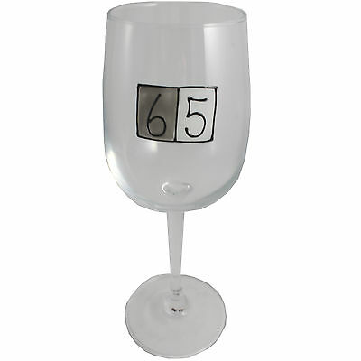 65th Birthday Wine Glass (Grey Sq)