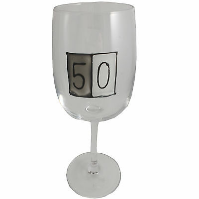 50th Birthday Gift Wine Glass (Grey Sq)