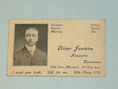 rare 1900s OLIVER JENKINS FURNITURE BUSINESS CARD w/ PHOTO~ KNOXVILLE,TN~signed