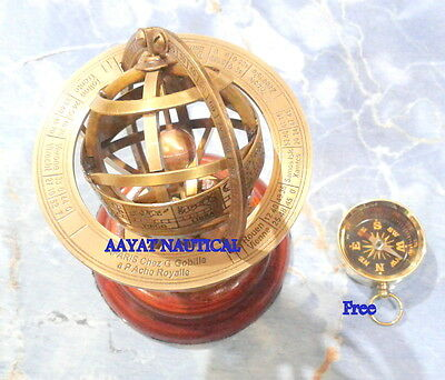 6 Inch Solid Brass Demonstrational Armillary Sphere Free Compaas Nice Gift