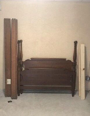 Solid Cherry Antique Full Size Bed Frame Hub Furniture Mfg Worcester Mass