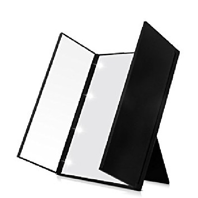 Tri-Fold Cosmetic Makeup Foldable 8 LED Mirror Travel Compact Pocket UK Seller
