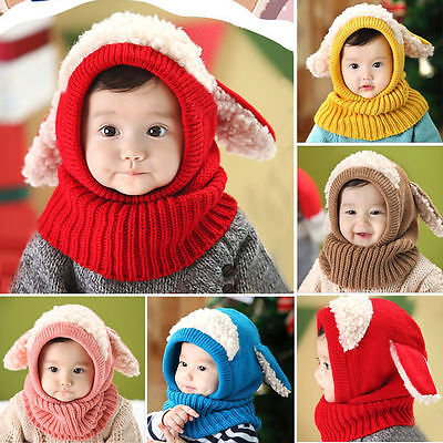 New Baby Toddler Winter Beanie Warm Hat Hooded Scarf Earflap Knitted Girls Boys