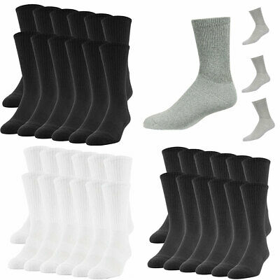 5~100 Dozens Wholesale Lots Men Solid Sports Cotton Crew Socks Black 9-11 10-13